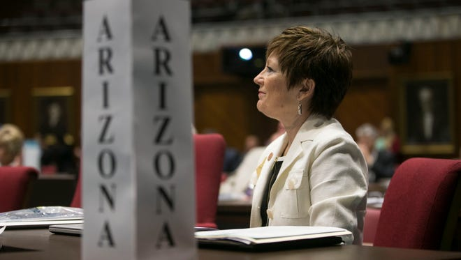 Sen. Nancy Barto of the Arizona delegation listens in the House chambers at the Arizona Capitol in Phoenix during a constitutional convention planning meeting for state delegates on Sept. 12, 2017.