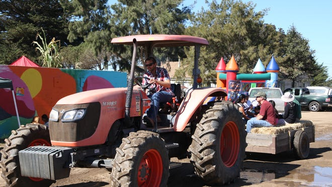 Nathan Harkleroad drives the tractor for a hayride at a past Fall Family Farm Day at ALBA, south of Salinas