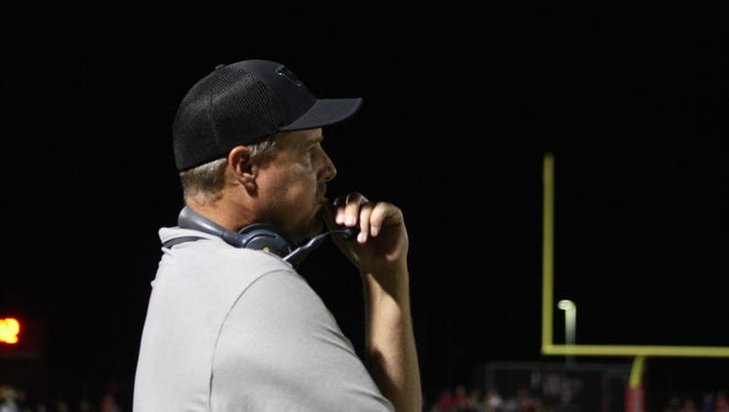 Williams Field head coach Steve Campbell watches the game against Chaparral on Friday, Nov. 3, 2017 in Gilbert, Arizona.