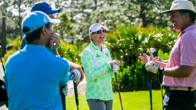 Former LPGA Tour star Annika Sorenstam talks with other golfers while waiting to tee off in the Immokalee Charity Classic Pro-Am at The Old Collier Golf Club on Monday, Nov. 13, 2017.