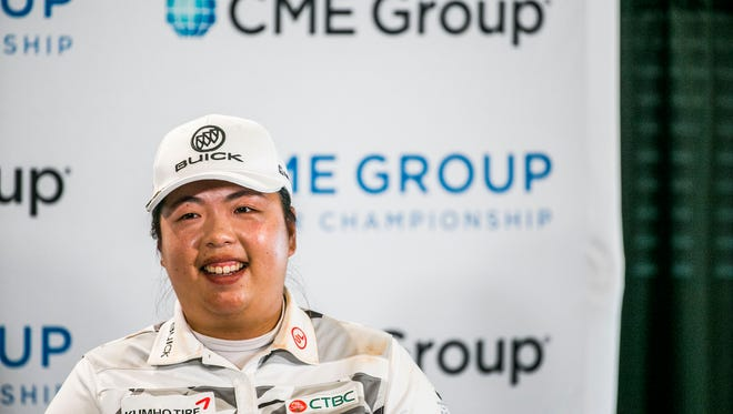 Shanshan Feng addresses the press during the CME Group Tour Championship Official Pro-Am at the Tiburón Golf Club in Naples on Wednesday, Nov. 15, 2017.