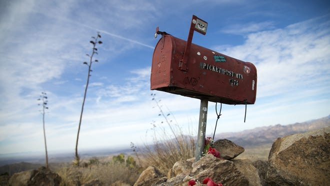 The mailbox on the summit of Picketpost Mountain in Tonto National Forest outside of Superior, AZ.