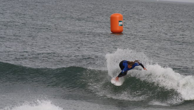 Caroline Marks competes in the Florida Pro surfing competition on Tuesday.