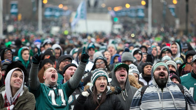 Thousands of Eagles fans gather around the Rocky steps of the Philadelphia Museum of Art.