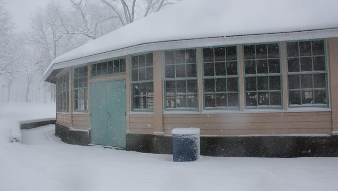 Rec Park's carousel during Friday's snow storm.