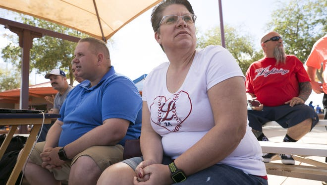 Dave and Sandra Henneman of Henderson, Nev., watch their son's traveling leave baseball game at the Rio Vista Sports Park in Peoria on March 23, 2018. The Hennemans who are both school teachers used to live in Lake Havasu City but moved to Nevada because the pay for teachers is so much better.