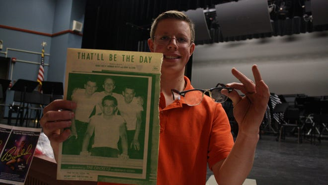 """Maine-Endwell High School senior Luke Kaczynski was inspired by the school's spring musical """"Buddy - The Buddy Holly Story"""" to compile a collection of memorabilia related to the legendary musician."""