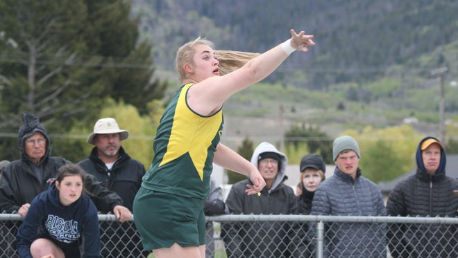 C.M. Russell thrower Breanna Johns, pictured at last spring's Eastern AA Divisional Meet in Butte, has continued to be a presence on the Rustlers' track and field team.