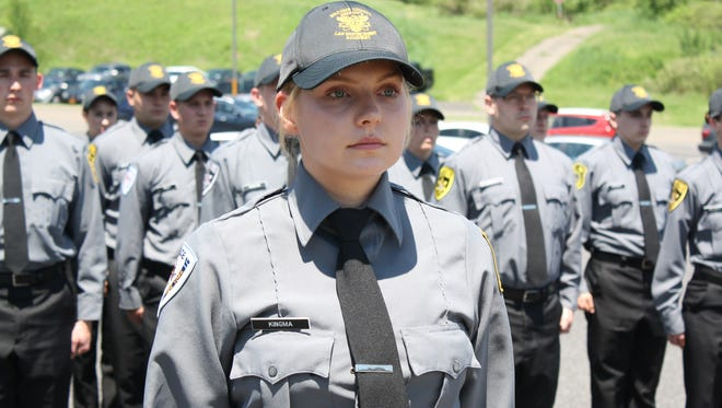 Kiley Kingma, 22, of Binghamton, is the first female Platoon Leader of the Broome County Sheriff's Law Enforcement Academy.