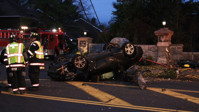 A man lost control of his Nissan early Tuesday on Route 9 in Tarrytown, rolled and snapped a utility pole. The road was closed for hours.