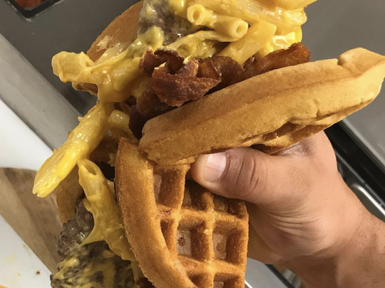 Double Bacon Mac & Cheese Waffle Burger from Brother Bruno's Pizza Deli and Bagel.