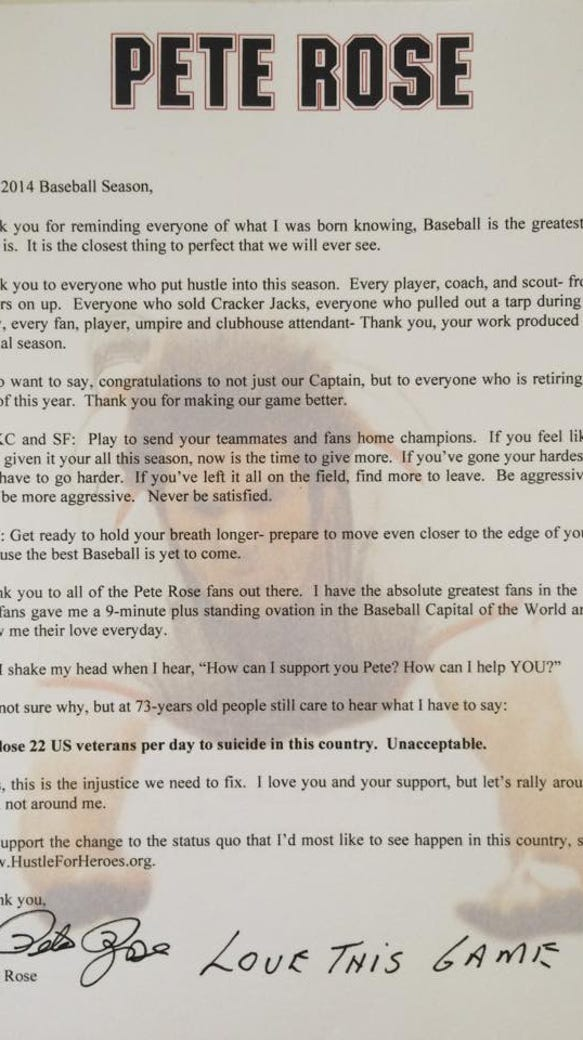 Pete Rose's letter