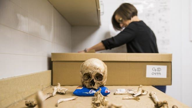 Kate Spradley, the founder of Operation Identification, works near remains of an unidentified border crosser at the Texas State Forensic Anthropology Center in San Marcos. She thinks the remains belong to a small female.