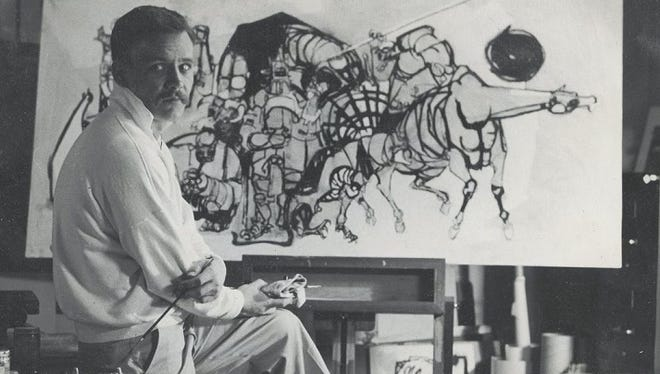 Don LaViere Turner is shown working in his Los Angeles studio in 1955.