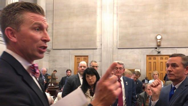 House Republican Caucus chairman Ryan Williams, left, and House Majority Leader Glen Casada, as GOP lawmakers debate a TNReady fix on Wednesday.