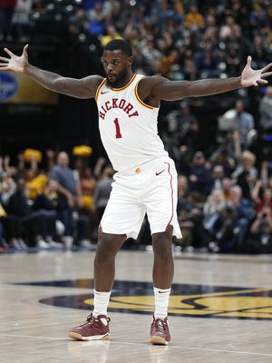 Indiana Pacers guard Lance Stephenson (1) celebrates hitting a three point shot in the second half of their game at Bankers Life Fieldhouse, Friday, Nov 17, 2017. The Indiana Pacers defeated the Detroit Pistons 107-100.