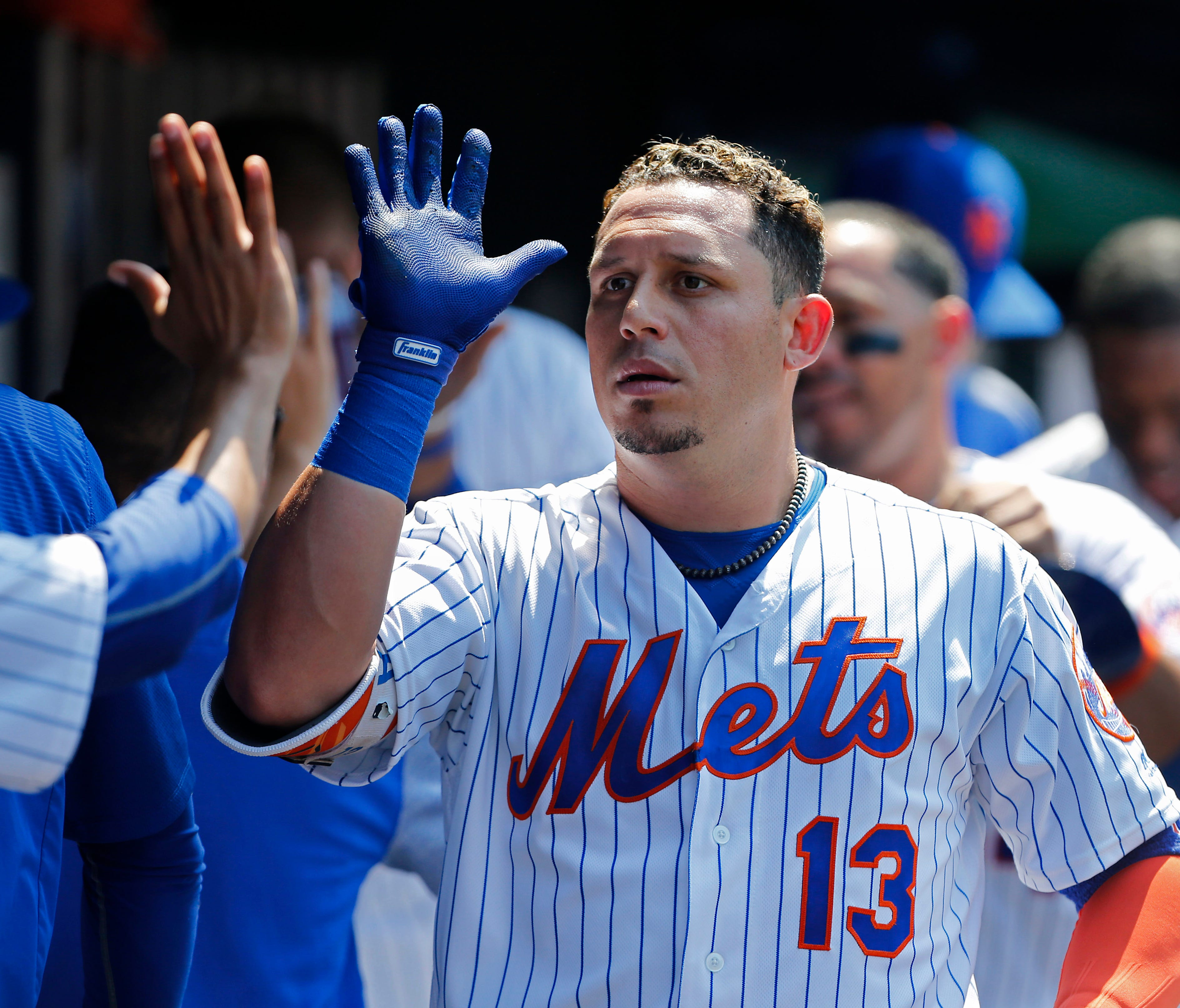 Jul 16, 2017; New York City, NY, USA;  New York Mets shortstop Asdrubal Cabrera (13) celebrate after hitting a home run in the fifth inning against the Colorado Rockies    at Citi Field. Mandatory Credit: Noah K. Murray-USA TODAY Sports