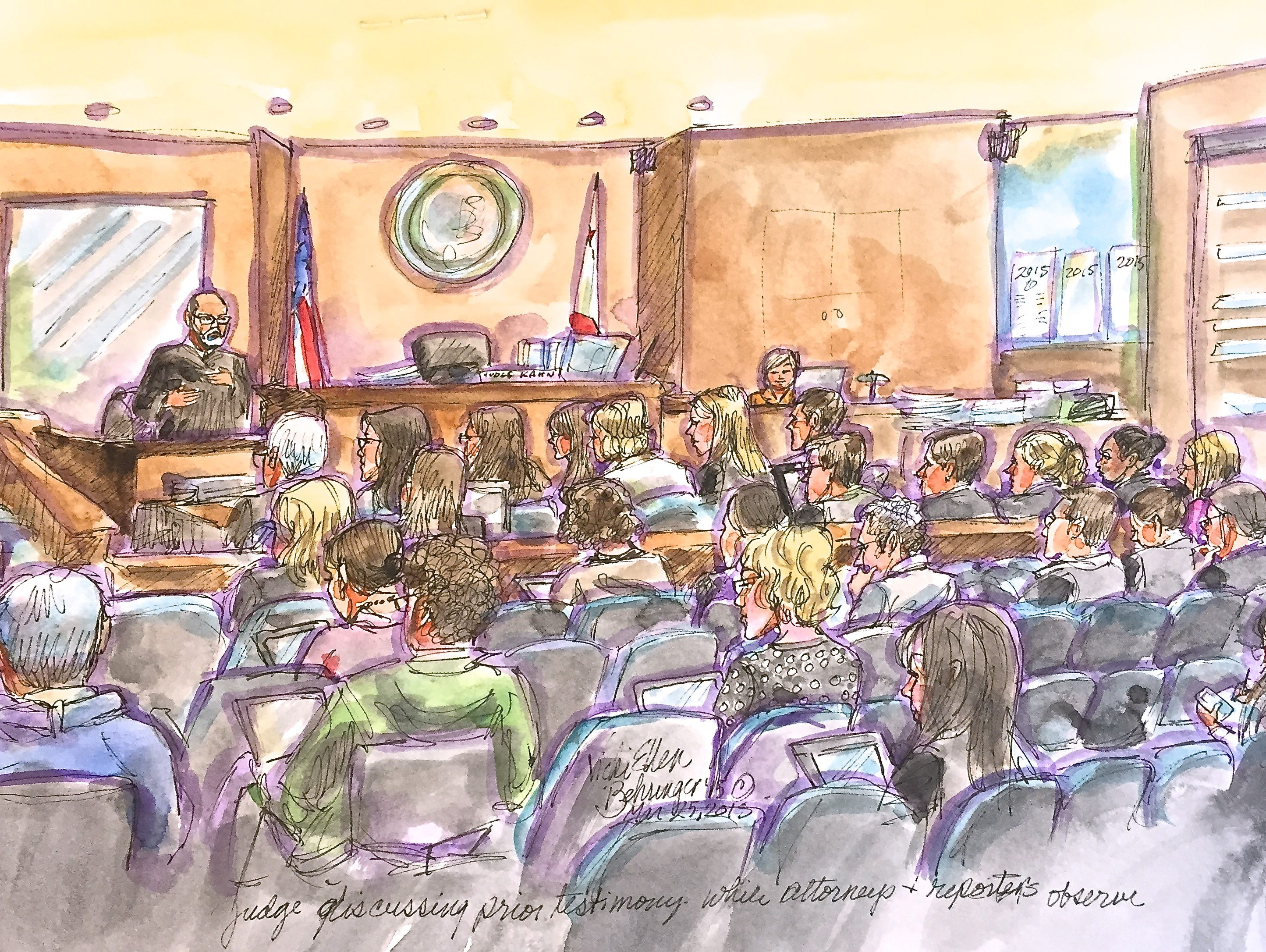 Reporters and lawyers wait for a verdict in Ellen Pao's sex discrimination lawsuit against venture capital firm Kleiner Perkins on March 25. Judge Harold Kahn is at the witness stand, making a point to the assembled attorneys.