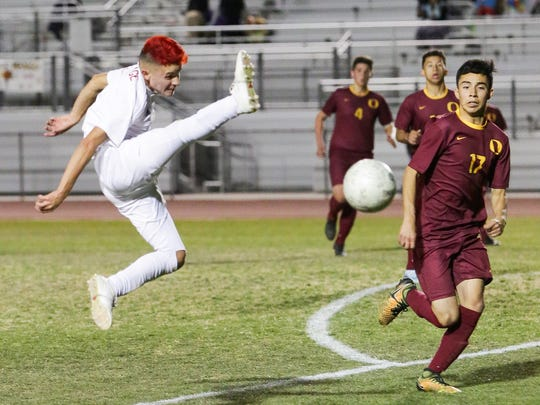 The Desert Mirage varsity soccer team won Tuesday's home playoff game against Oxnard (CA) by a score of 2-1.