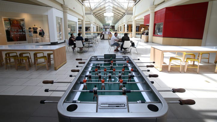 Pictured are new foosball tables, seating and charging