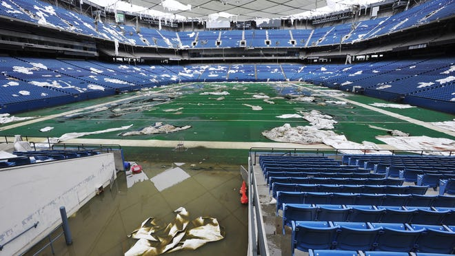 The field at the Pontiac Silverdome flooded in May 2014.
