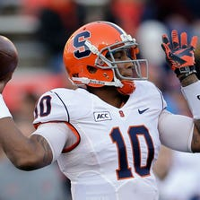 Quarterback Terrel Hunt has the size and arm strength to be a dual threat for Syracuse this season.