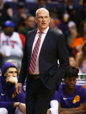 Phoenix Suns head coach Jay Triano against the Detroit Pistons in the second half on Mar. 20, 2018 at Taking Stick Resort Arena in Phoenix, Ariz.