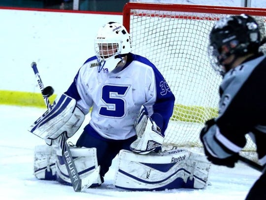 Tristan Rehling, shown making a stop last season, is one of Salem's three goalies along with Austin Goleniak and Matt Visel.