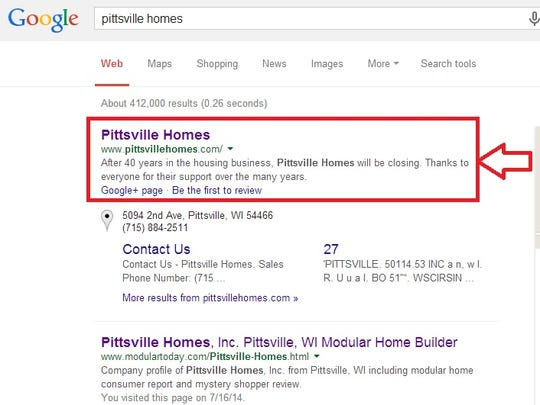 A Google search of Pittsville Homes yields news of the company's closing.