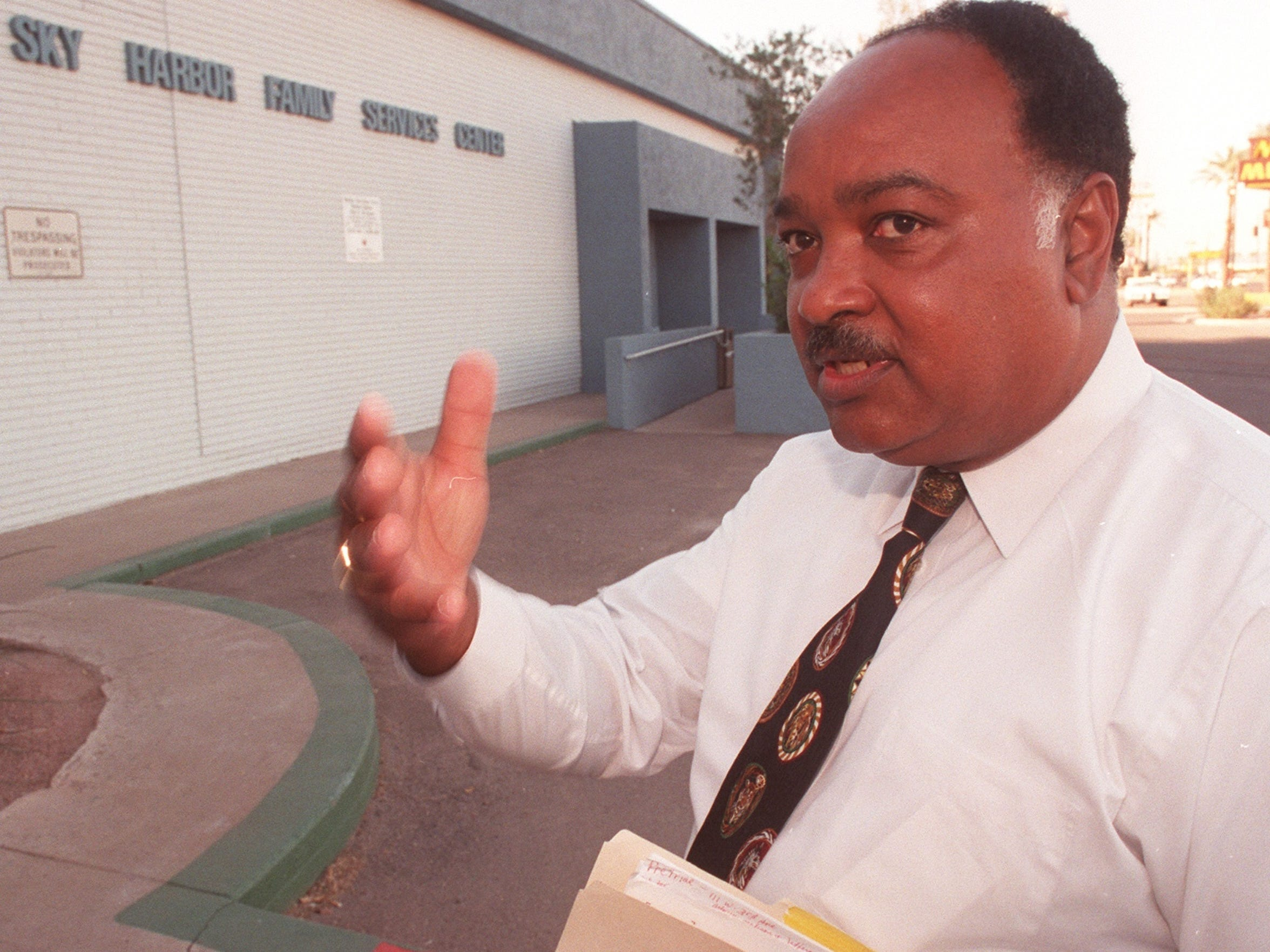 Rev. Oscar Tillman in 1999, discussing a case in which