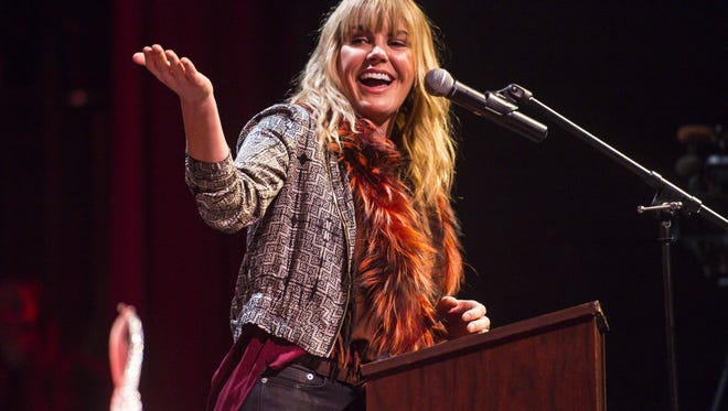 Grace Potter speaks after accepting the Governor's Award for Excellence in the Arts at Harwood Union High School, her alma mater, in Duxbury on Wednesday, December 23, 2015.