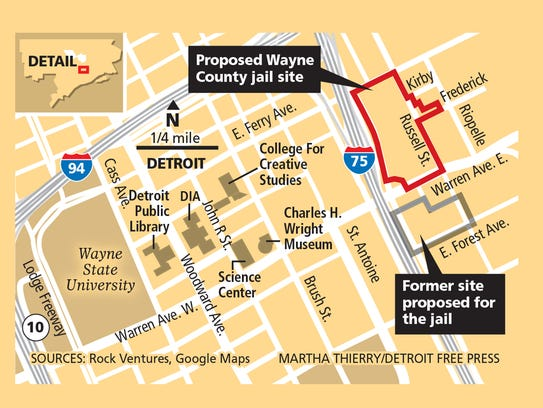Proposed Wayne County jail site and former site proposed