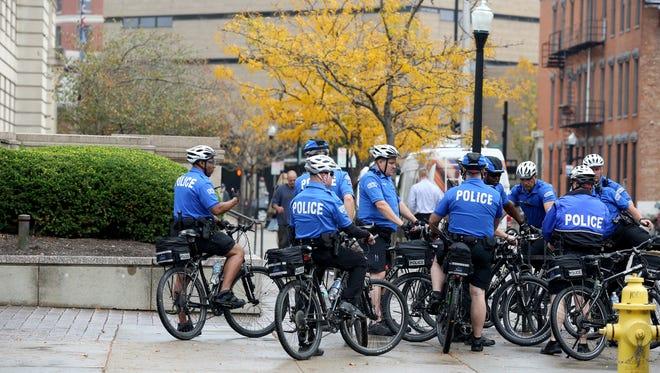 Cincinnati Police officers outside of the Hamilton County Courthouse Thursday Nov. 3, 2016.