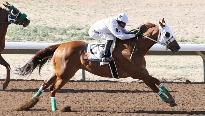 Klassic Strawfly, along with jockey Alejandro Medellin, pull clear of the competition to score a convincing upset win in Friday's $33,800 Jimmy Drake Stakes at SunRay Park and Casino.