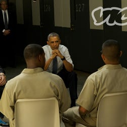President Obama meets with prison inmates at a federal prison in El Reno, Okla., in July 2015.