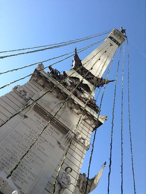 More than 100,000 people will gather on Monument Circle the Friday after Thanksgiving to celebrate the lighting of 4,784 lights strung from the Indiana Soldiers and Sailors monument. The event kicks off at 6 p.m. and the lights will come on at approximately 7:50 p.m.