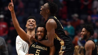 Florida State Seminoles guard PJ Savoy (5) celebrates after defeating the Xavier Musketeers in the second round of the 2018 NCAA Tournament at Bridgestone Arena.