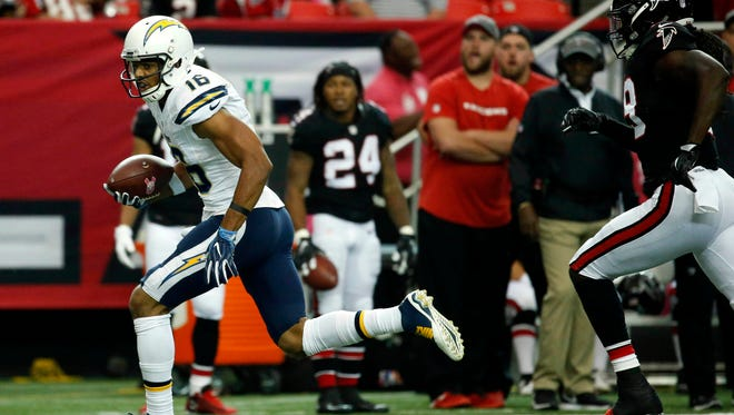 Oct 23, 2016; Atlanta, GA, USA; San Diego Chargers wide receiver Tyrell Williams (16) runs after a catch in the first quarter of their game against the Atlanta Falcons at Georgia Dome. Mandatory Credit: Jason Getz-USA TODAY Sports