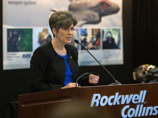 Senator Joni Ernst visits Rockwell Collins in Cedar Rapids on Aug. 11, 2015.