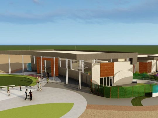 A rendering shows the plans for Heroes Regional Park Library.