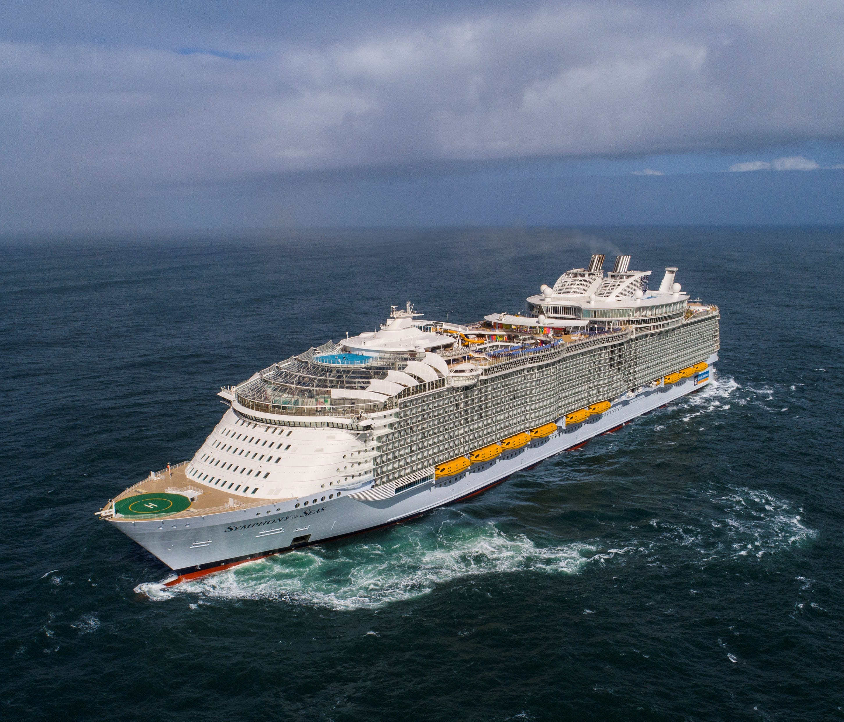 At 228,081 gross register tons, Royal Caribbean's Symphony of the Seas is the largest cruise ship ever built.