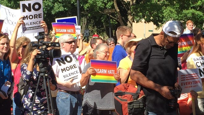 People attend a gun control rally held by U.S. Rep. John Yarmuth on June 29, 2016, in Louisville