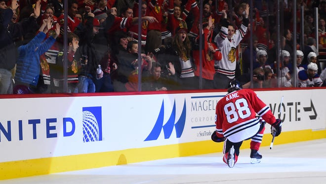 In addition to scoring at least a point in 26 consecutive games, Patrick Kane leads the NHL in scoring with 46 points.