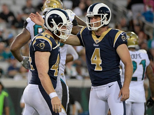 Los Angeles Rams long snapper Jake McQuaide, left, congratulates kicker Greg Zuerlein (4) after a field goal against the Jacksonville Jaguars during the second half of an NFL football game, Sunday, Oct. 15, 2017, in Jacksonville, Fla. (AP Photo/Phelan M. Ebenhack)