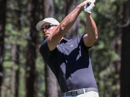 Mark Mulder hits a tee shot on the 16th hole during the American Century Championship at Edgewood Tahoe Golf Course in Stateline,  July 16, 2017.