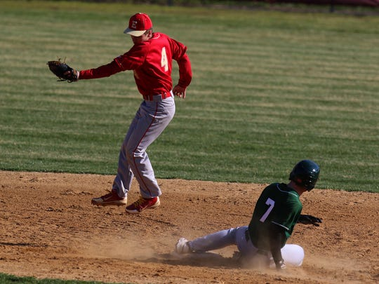St. Joseph at Edison High School Baseball. St Joes #7 Travis Adams and  Edison #4 Brett Douches safe at second Wednesday April 6, 2016 photo by Ed Pagliarini
