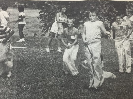 Morganfield Elementary held their annual field day in May 1987. Participating in a sack race from left are, Jesse Thomas, Michael Elam, Brad Sheffer, Larry Lawson, Andy Daniels, Michael Day, Troy Osborne, and Brandon Burnette.