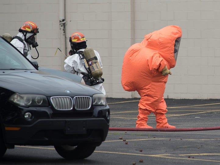 Wayne County HAZMAT works a chemical situation at Hughes