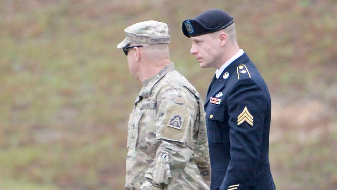 U.S. Army Sgt. Robert Bowe Bergdahl is escorted into the Ft. Bragg military courthouse for his sentencing hearing on October 23, 2017 in Fort Bragg, North Carolina.