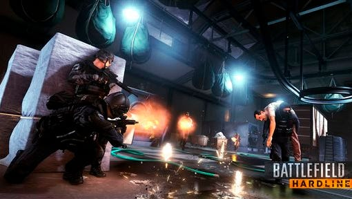 """This photo provided by Electronic Arts shows a scene from the video game """"Battlefield Hardline"""" (for PlayStation 4, PlayStation 3, Xbox One, Xbox 360, PC, $59.99), in which a SWAT team tries to prevent a gang of thieves from executing a heist. (AP Photo/Electronic Arts Inc.)"""